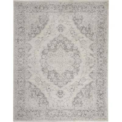 Tranquil Ivory/Grey 8 ft. x 10 ft. Persian Vintage Area Rug