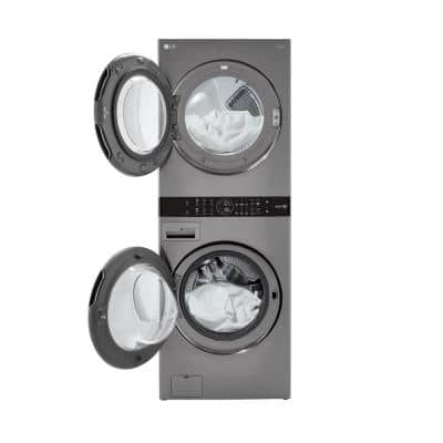 27 in. Graphite Steel WashTower Laundry Center with 4.5 cu. ft. Front Load Washer and 7.4 cu. ft. Electric Dryer