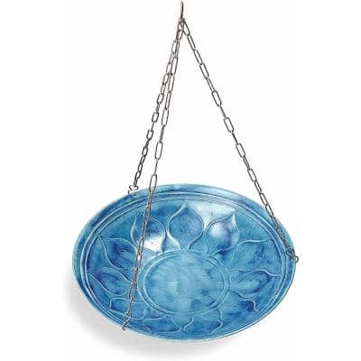 Monarch Blue Oasis Hanging Bird Bath/Bird Feeder Garden Decor
