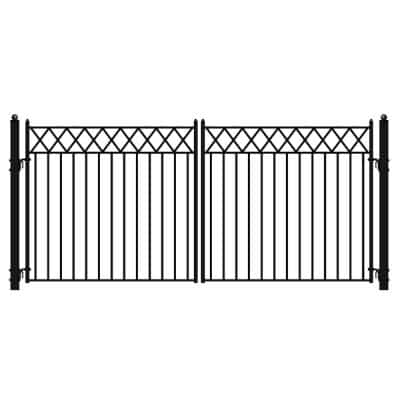 Stockholm Style 16 ft. x 6 ft. Black Steel Dual Swing Driveway Fence Gate