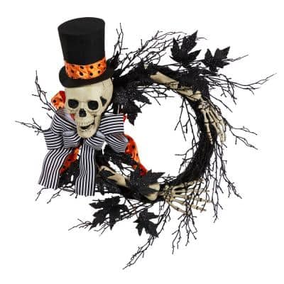 26 in. Black Dapper Skeleton Halloween Wreath