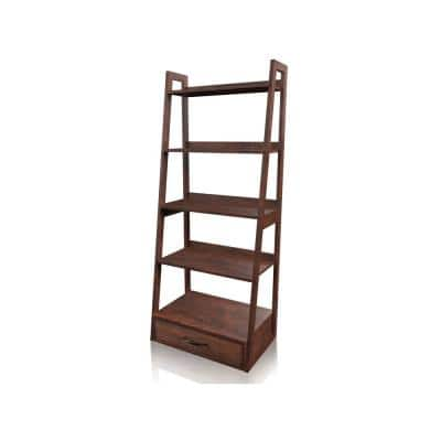 64 in. Brown Cherry Wood 5-shelf Ladder Bookcase with Drawers