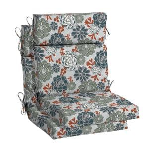 21.5 in. x 24 in. Shadow Gray Succulents High Back Outdoor Chair Cushion (2-Pack)