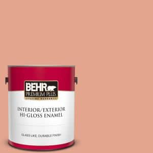 Behr Premium Plus 1 Gal M180 4 Priceless Coral Hi Gloss Enamel Interior Exterior Paint 840001 The Home Depot