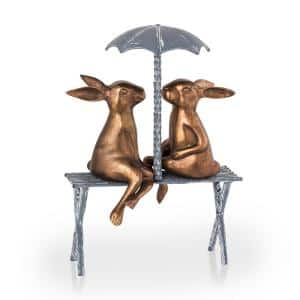 Romantic Rabbit Pair on Bench Garden Statue