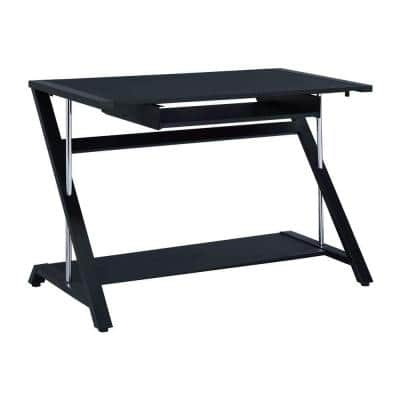 42 in. Rectangular Black Computer Desk with Keyboard Tray