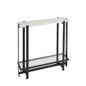 Moira 30 in. Black Standard Rectangle Acrylic Console Table with Storage