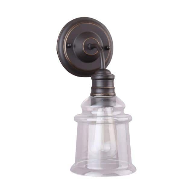 Home Decorators Collection 1 Light Antique Bronze Wall Sconce With Clear Glass Shade 7951hdcbz The Home Depot