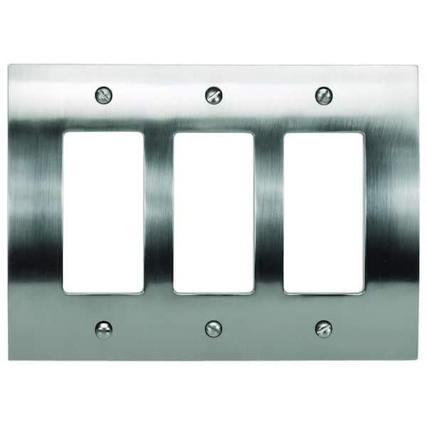Atlas Homewares Zephyr 3 Rocker Metal Wall Plate - Brushed Nickel