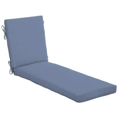 21 in. x 24 in. Washed Denim Outdoor Chaise Lounge Cushion