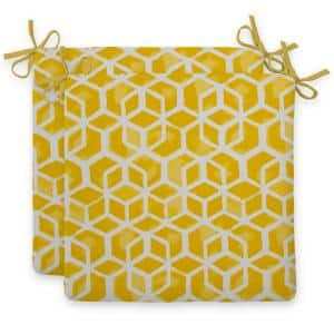 Cubed Yellow Square Outdoor Seat Cushion (2-Pack)