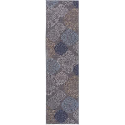 Contemporary Floral Non-Slip (Non-Skid) Gray 1 ft. 10 in. x 7 ft. Indoor Runner Rug