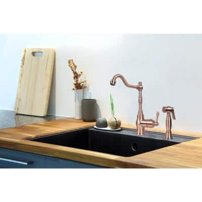 Single-Handle Widespread Kitchen Faucet with Side Spray in Copper
