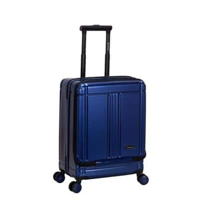 Tokyo 18 in. Navy Expandable Hard Side Spinner Carry on Laptop with TSA Lock