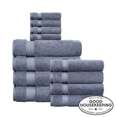 Egyptian Cotton 12-Piece Towel Set in Steel Blue
