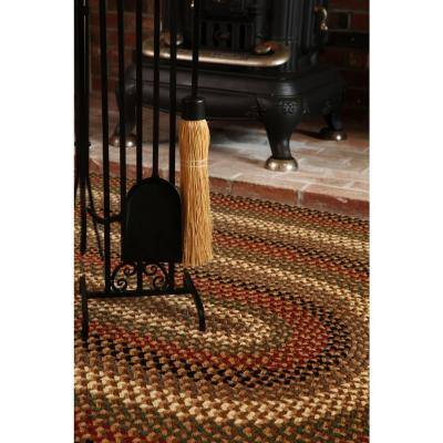 Country Medley Natural Earth 4 ft. x 6 ft. Oval Indoor/Outdoor Braided Area Rug