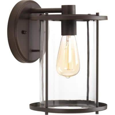 Gunther Collection 1-Light Antique Bronze Clear Glass Farmhouse Outdoor Large Wall Lantern Light