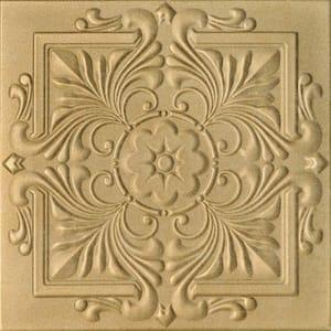 Victorian 1.6 ft. x 1.6 ft. Foam Glue Up Ceiling Tile in Light Brass (2.67 sq. ft./Each)