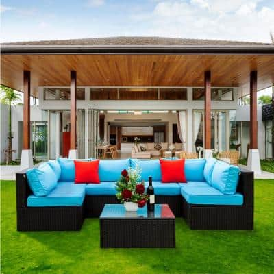 5-Piece Black Wicker Outdoor Sectional Set with Blue Cushions