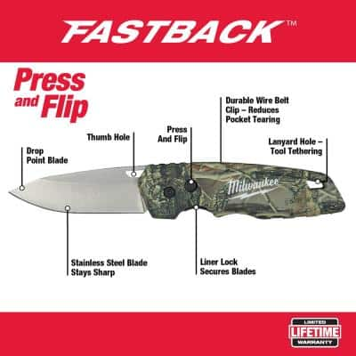 FASTBACK Camo Stainless Steel Folding Knife with 2.95 in. Blade