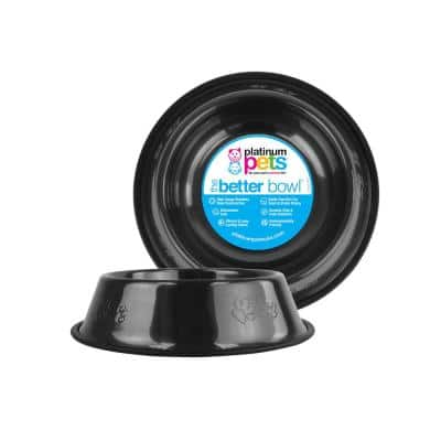 Embossed Non-Tip Stainless Steel Cat/Dog Bowl, Black Chrome