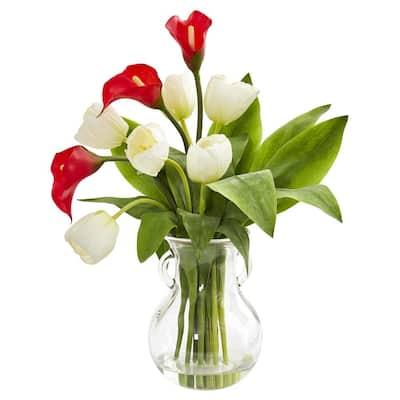 Indoor Calla Lily and Tulips Artificial Arrangement in Decorative Vase
