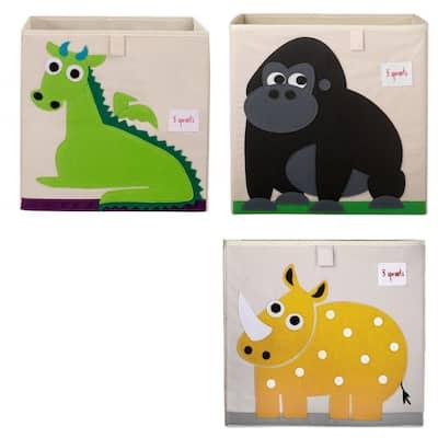 Kids Dragon Felt Storage Cube Toy Bin with Gorilla and Rhino Cube Toy Bins, Beige