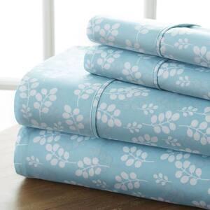 4-Piece Pale Blue Floral Microfiber King Sheet Set