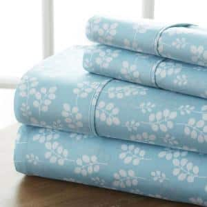 4-Piece Pale Blue Floral Microfiber Twin Sheet Set