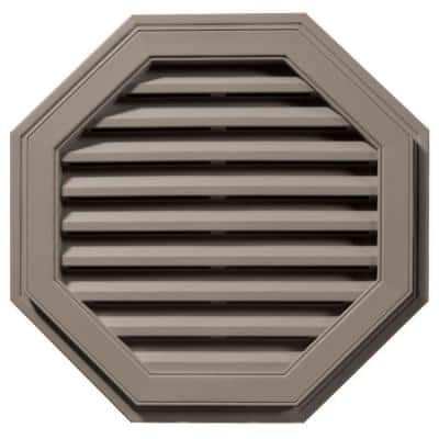 27 in. x 27 in. Octagon Brown/Tan Plastic Built-in Screen Gable Louver Vent