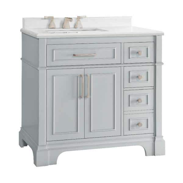Home Decorators Collection Melpark 36 In W X 22 In D Bath Vanity In Dove Grey With Cultured Marble Vanity Top In White With White Sink Melpark 36g The Home Depot