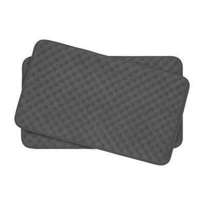 Massage Dark Gray 17 in. x 24 in. Memory Foam 2-Piece Bath Mat Set