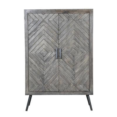 Gray Chevron Pattern 2-Door Wooden Accent Cabinet with Angled Metal Legs 16 in. L x 31 in. W x 47 in. H