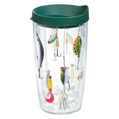 Fishing 16 oz. Plastic Double Walled Insulated Tumbler with Travel Lid