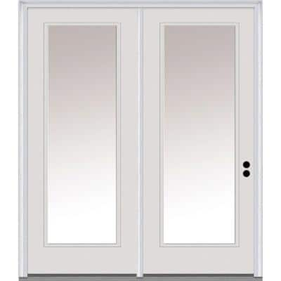 64 in. x 80 in. Clear Low-E Glass Primed Steel Prehung Left-Hand Inswing Full Lite Stationary Patio Door