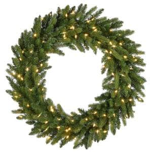 36 in. Feel Real(R) Grande Fir Artificial Christmas Wreath with 150 Warm White LED Lights