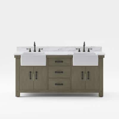Paisley 72 in. W x 22 in. D Vanity in Grizzle Gray with Marble Vanity Top in White with White Basin