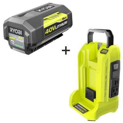 300-Watt Button Start Powered Inverter for 40-Volt Battery with 6.0 Ah Battery Included