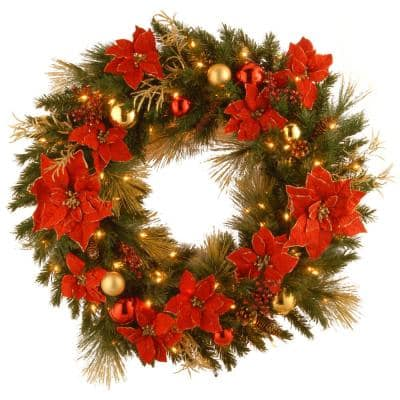 Decorative Collection Home Spun 36 in. Artificial Wreath with Clear Lights