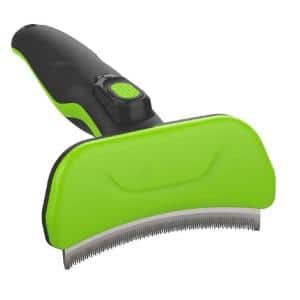 Fur-Guard Easy Self-Cleaning Grooming Deshedder Pet Comb Green