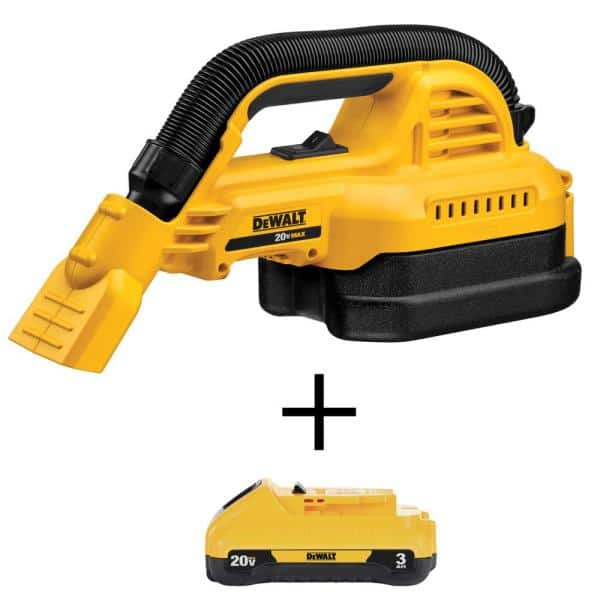 DEWALT 20-Volt MAX Lithium-Ion 1/2 Gal. Wet/Dry Portable Vacuum with (1) 20-Volt Compact 3.0Ah Battery   The Home Depot