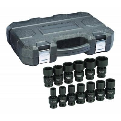 1/2 in. Drive 6-Point SAE Standard Universal Impact Socket Set (13-Piece)