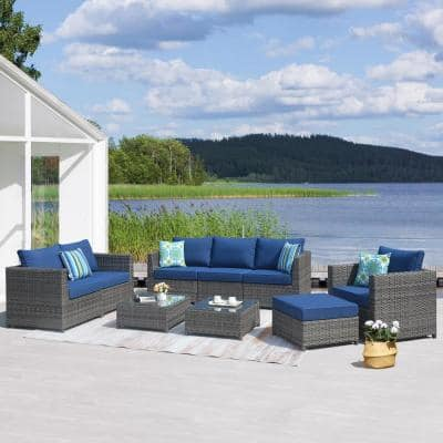 Victorie Gray 9-Piece Big Size Wicker Outdoor Patio Conversation Seating Set with Navy Blue Cushions