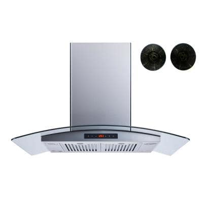 36 in. Convertible Island Mount Range Hood in Stainless Steel and Glass with Touch Control Baffle and Carbon Filters