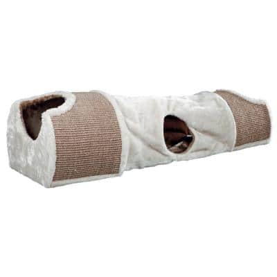 Light Gray/Brown Plush Nesting Tunnel for Cats