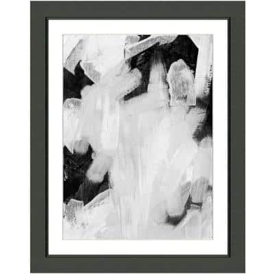 """""""Black and white abstract II"""" Framed Archival Paper Wall Art (24 in. x 28 in. in full size)"""