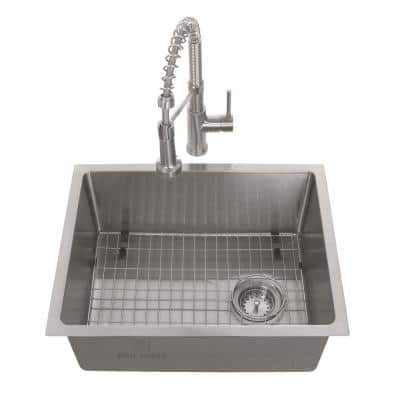 Tight Radius Stainless Steel 23 in. 18-Gauge Single Bowl Undermount Kitchen Sink with Spring Neck Faucet