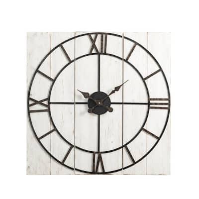 31.50 in. W Oversized Farmhouse Wooden/Metal Wall Clock