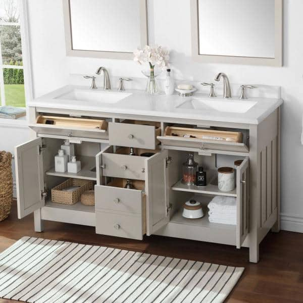 Martha Stewart Living Hillside 60 In Bath Vanity Sharky Gray With Cultured Marble Top White Basins 15vva Hill60 07 The Home Depot