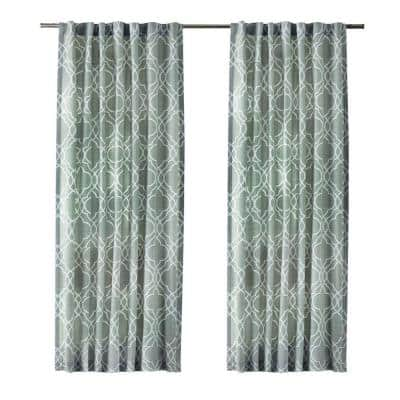 Spring Blue Geometric Back Tab Room Darkening Curtain - 54 in. W x 108 in. L